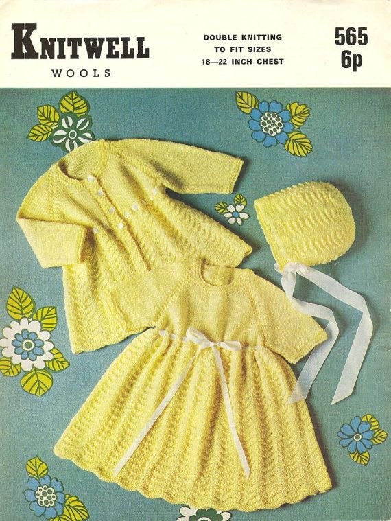 Knitwell 565 baby matinee coat and bonnet set by Ellisadine, £1.00