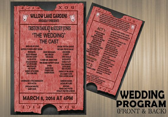 Theater Ticket Wedding Program-- Digital Download or Printed Option
