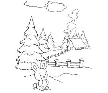 Kolorowanka - Zajączek na śniegu