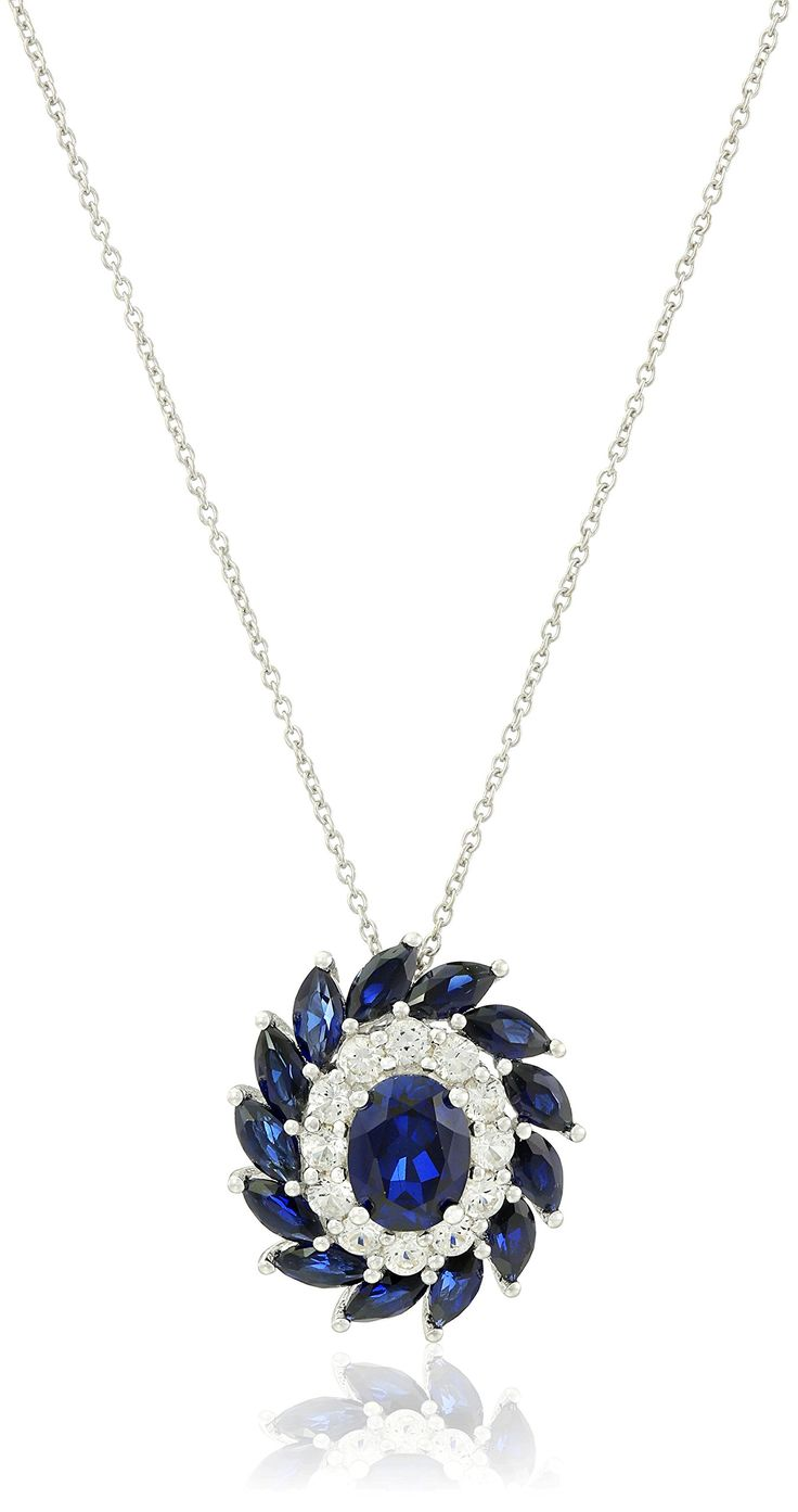 """Sterling Silver Created Sapphire and Created White Sapphire Flower Oval Pendant Necklace, 18"""". Made in China."""
