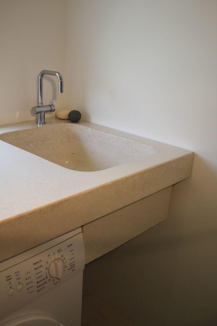 Concrete laundry, Wild Rice, by @concreatau #concrete #benchtop #countertop #laundry