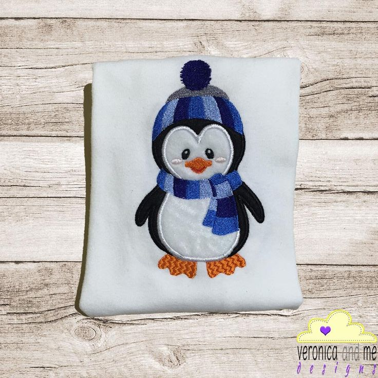 Cute, cuddly boy penguin with blue hat and scarf design to add to any penguin lovers clothing or favourite item!  This design is perfect as a stand alone design or as an addition to a text design.