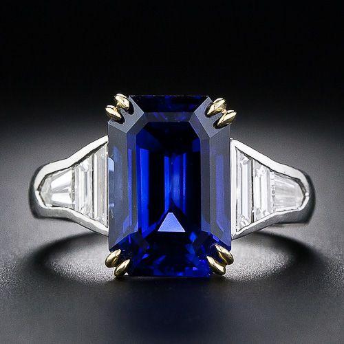 8.10 carat Emerald Cut Sapphire and Baguette Diamond Ring - 30-1-4707 - Lang Antiques