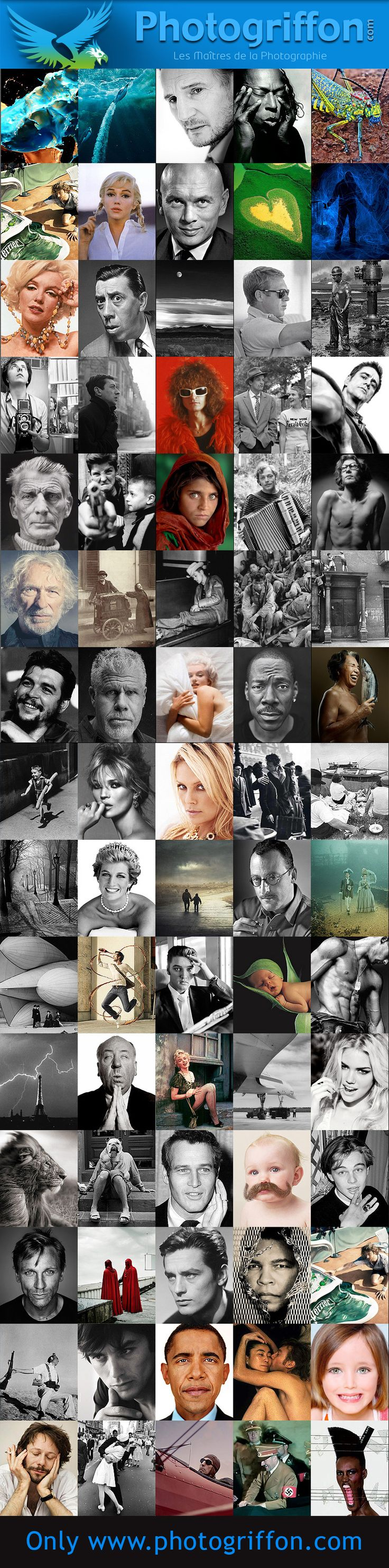 Master of photographer Willy Ronis, Henri-Cartier Bresson, Alfred Wertheimer, Herb Ritts, Jean Dieuzaide, Martin Schoeller, Eugene Atget, Jane Brown, Jean-Paul Goude, John Dominis.......
