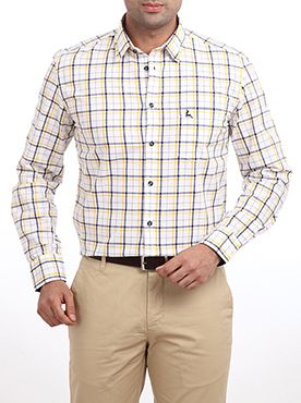 Here is a smart looking casual shirt from Raymond's Parx casual wear collection. This light yellow colored shirt goes well with any dark colored casual trouser. You can wear it to any social outing and leave a long lasting impression on your friend�s and loved ones mind. It is made from pure cotton which ensures that you get the best of the comfort level even in the adverse climatic condition. It features a slim fit design which makes you look trendy and enhances your personality.