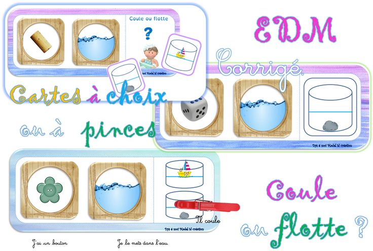 jeux -coule ou flotte - EDM- cartes à pinces-cartes à choix