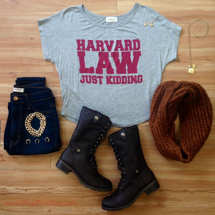 harvard law, jk top, accessories, booties, priceless #ootd #fallfashion high waisted skinny jeans, boots, scarf. #shoppriceless