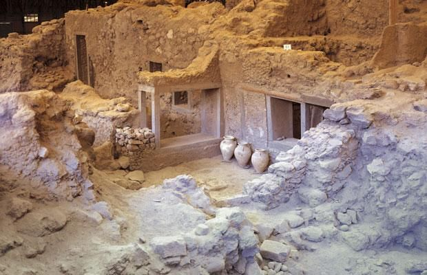 Akrotiri, Santorini, Greece. Minoan Bronze Age settlement.