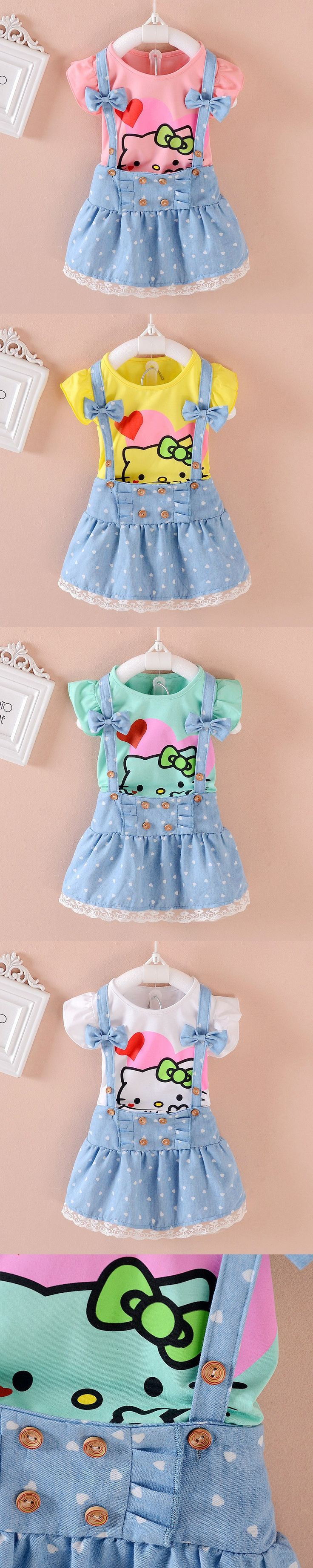 Hello Kitty Girl Dress Dresses Kids Girls clothes Children clothing Summer 2016 Toddler girl clothing Set Casual Fashion T569 $5.99