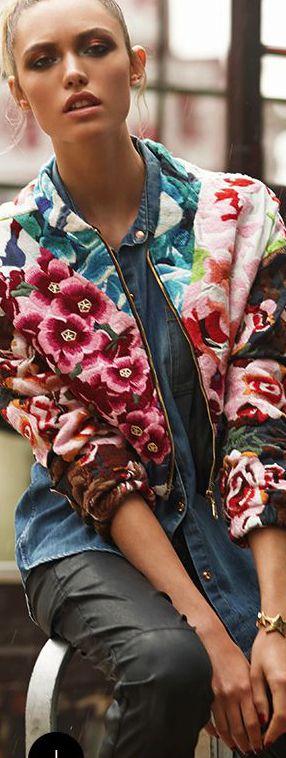 Shakuhachi Flower Bomb Embroidered Bomber (Jesse White) - Revolve Clothing