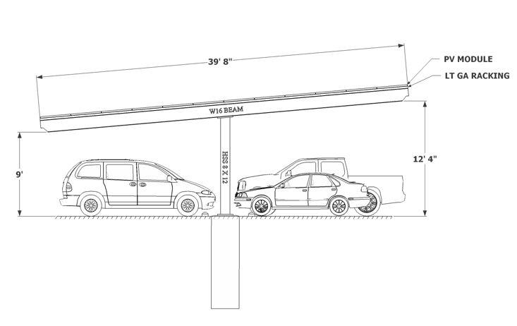 Solar Carport Sketch Single Column Double Carport Solar Carport