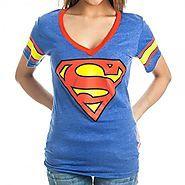 Superman T Shirts | DC Comics Superman Logo Deep V-Neck Striped Sleeves Juniors Royal Blue T-shirt (Juniors Large)
