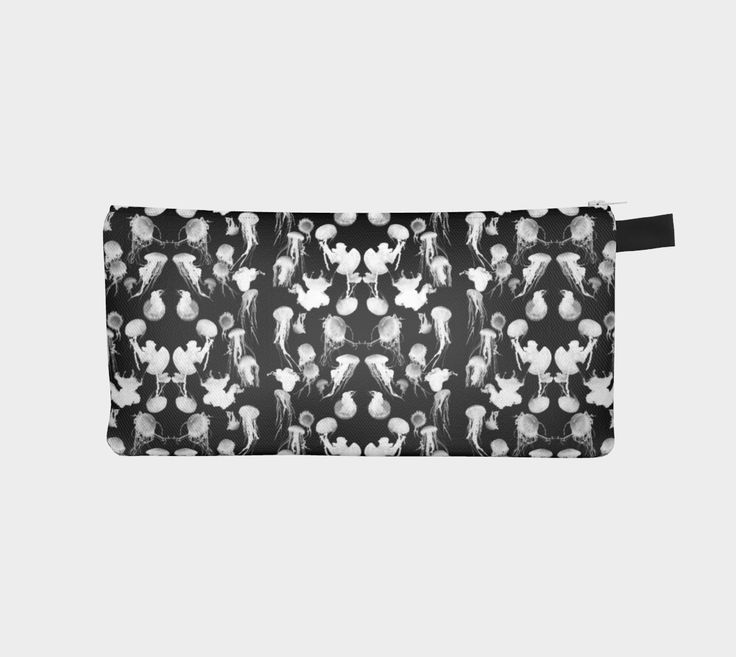 """Pencil+case+""""Black+and+White+Jellyfish+""""+by+Amy+Jeanne+Wpg"""
