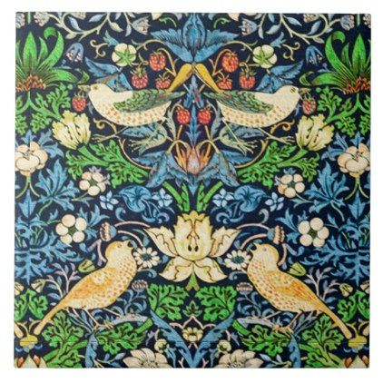 Art Nouveau Bird And Flower Tapestry Pattern Tile Zazzle