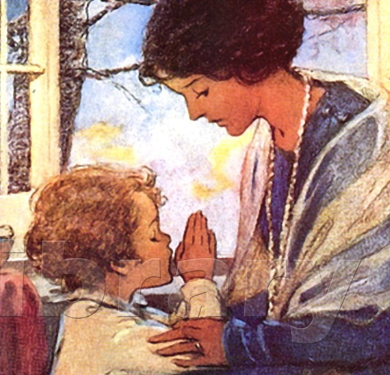"""A Child's Prayer is at the bottom of this beautiful print.  """"Heavenly Father guard my sleep All my thoughts from evil keep Make me truthful, may I be Gentle, pure and kind like Thee""""  Once again Jessie Willcox Smith captures the beauty of the moment with this lovely illustration."""