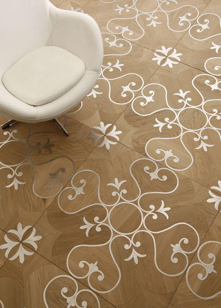 Madera de roble + Acero, mod. SAMI. Acabado natural con aceite y cera. Lemma • Inlaid floor in oak wood and steel... pretty