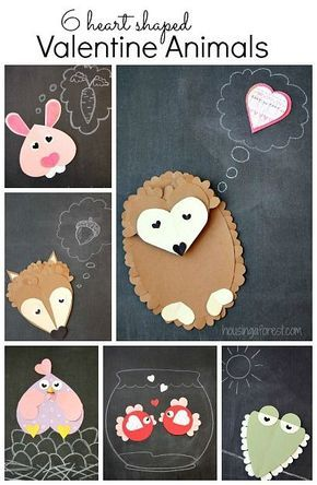 6 Heart Shaped Animals with FREE printable PDF's~ Easy Valentine crafts for kids