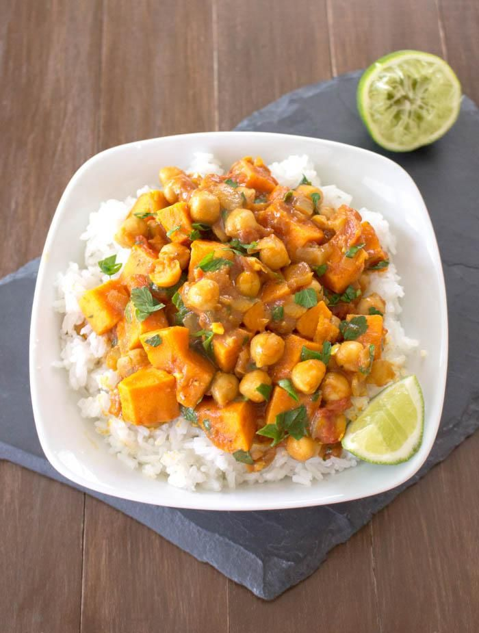 Curried chickpeas and sweet potatoes!  This sounds delicious. My meet loving husband would insist on adding some sort of chicken or lamb, but I could eat it vegetarian.