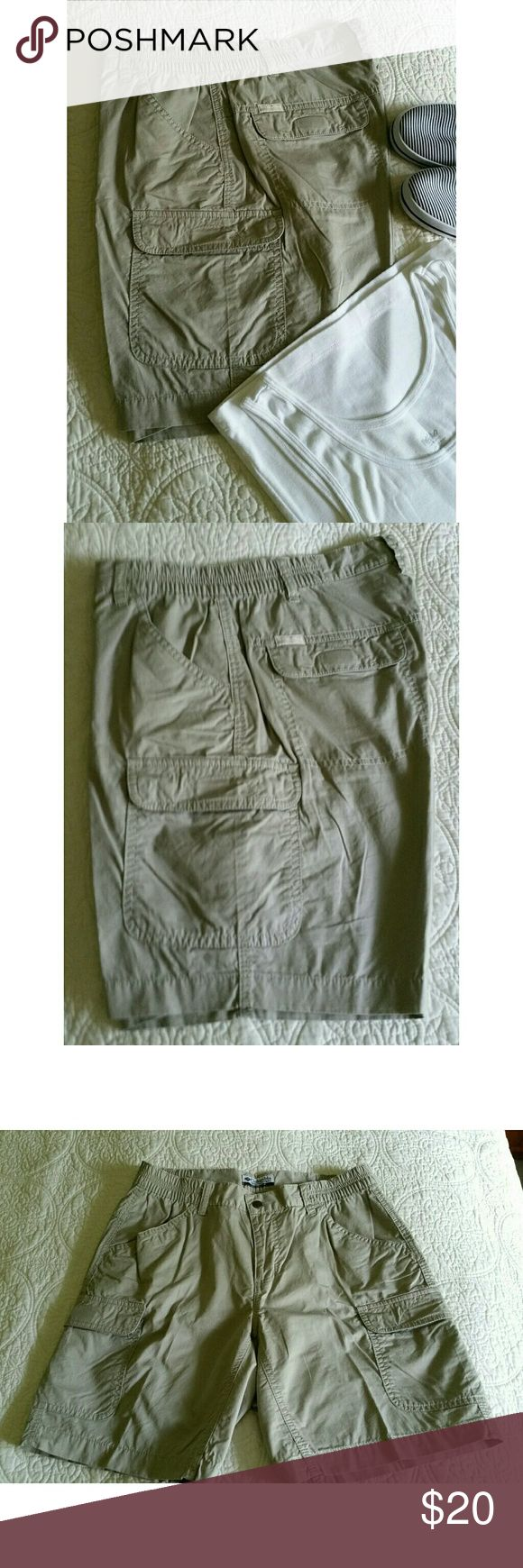 """JUST IN"" Columbia Shorts NWOT  Never worn  2 Velcro closure pockets back 2 slant pockets front  Velcro closure pockets both side Inseam 7 ""  Sits at the navel. NOTE Will fit women's size 28"" Columbia Sportswear Company Shorts"