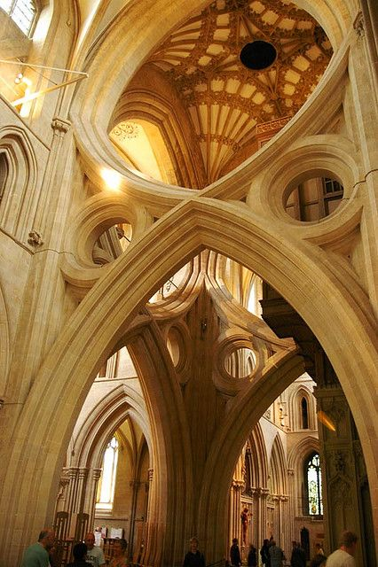WELLS CATHEDRAL: Well Cathedrals, Cathedrals Scissors, Vaulted, Beautiful Places, Inside Church, England Places, Scissors Arches, Matte Wieb, Architecture