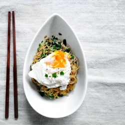 Ginger scallion noodles, topped with a soft poached egg. Entertaining ...