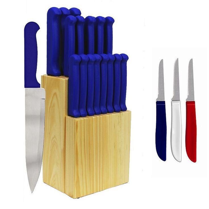 Ginsu Quikut Home Basics 23-pc. Combo Cutlery Set, Blue, Durable