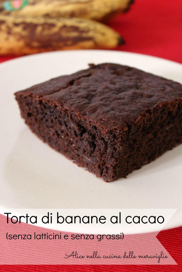 Torta di banane al cacao, ricetta dolce (senza latticini e senza grassi)