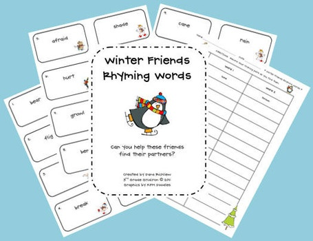 Free  winter literacy...5 pages including flash cards for matching games: Center, Winter Friends, Free Winter, Winter Rhyming, Rhyming Words, Friends Rhyming, Teacher, 3Rd Grade
