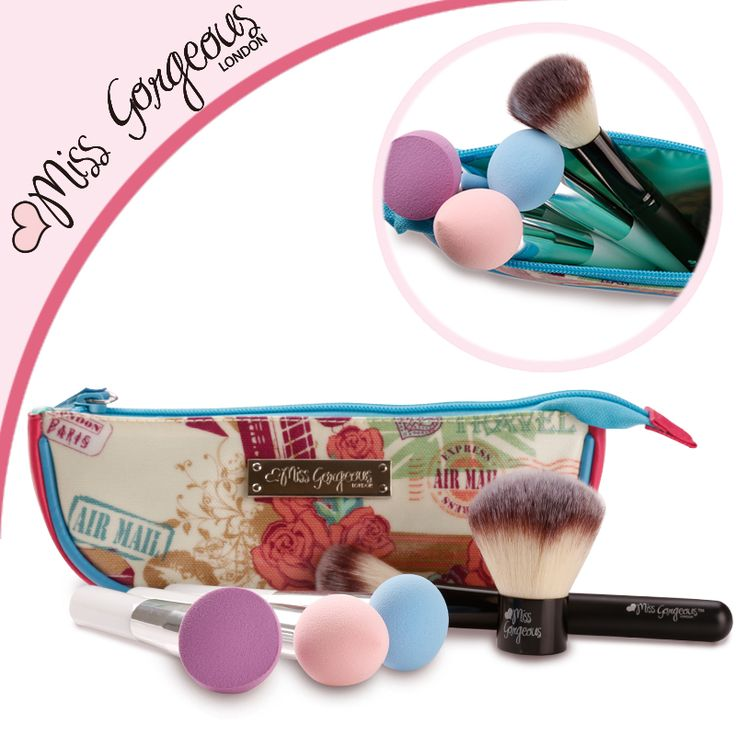 Miss Gorgeous Professional Makeup Tools Kit 3pcs Makeup Sponge Brushes and 2pcs Make Up Brushes with Boat Design Cosmetic Bag