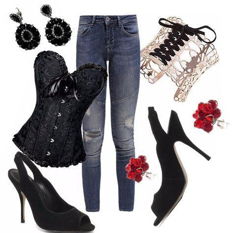 Un outfit pensato per giocare...al burlesque ! Jeans skinny con strappi, corsetto in pizzo nero con fiocco in raso, corsetto rosso e nero in pizzo. Décolleté nero sling back open toe, pochette rossa, bracciale dorato con motivo di nastro nero, orecchini con pietre in nero e rosso.