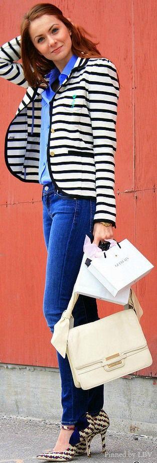Striped style: Tory Burch heels; Zac Posen bag    LBV ♥✤   BeStayBeautiful
