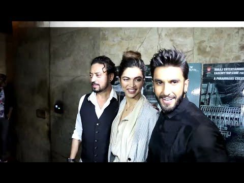 WATCH Ranveer Singh with Girlfriend Deepika Padukone at the screening of MADAARI. See the full video at : https://youtu.be/CG4afTVXUQw #ranveersingh #deepikapadukone