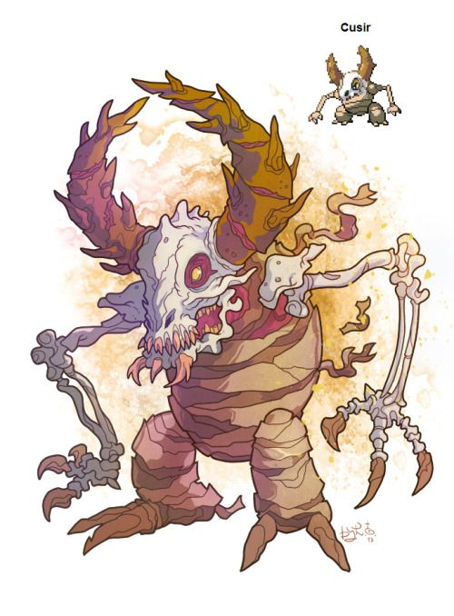 """garvals: """"My first pokemon fusion is Cubon + Pinsir = Cusir (the name probably made from a """"Curse"""" of a mummy) It's a Ground Ghost that probably knows such moves as Sand Tomb, Phantom Force, Earthquake and Destiny Bond. Ability: Arena Trap and Sand..."""