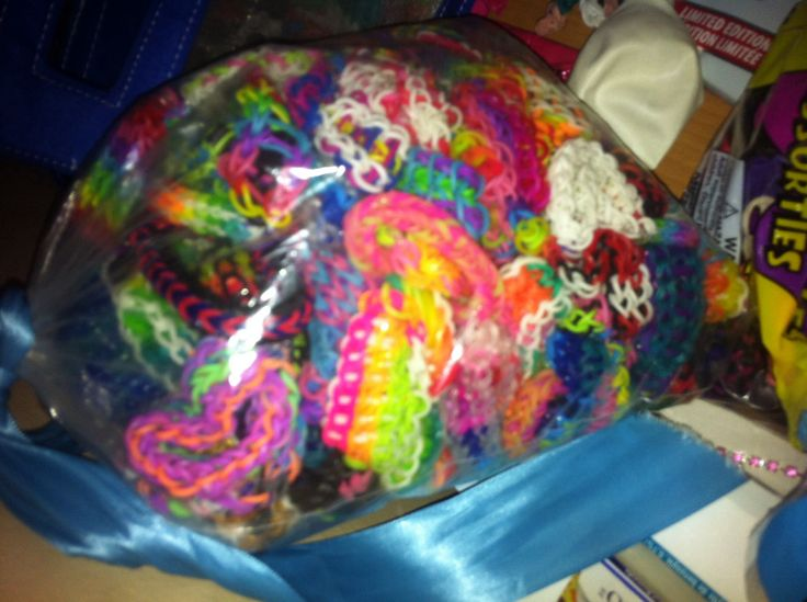 Most of my bracelets but not all of them!  Twitter AnatheLoomingPro  Facebook page Loom Bands with a picture of a crazy loom box Instagram AnatheLoomingPro