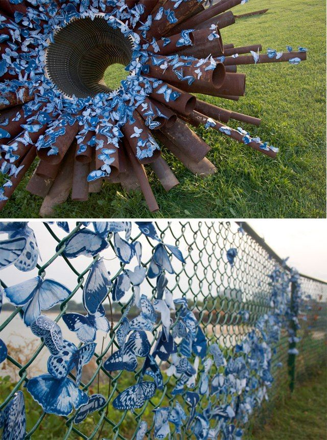 Tasha Lewis creates temporary public art installations from swarms of magnetic butterflies made from cyanotypes. Delight