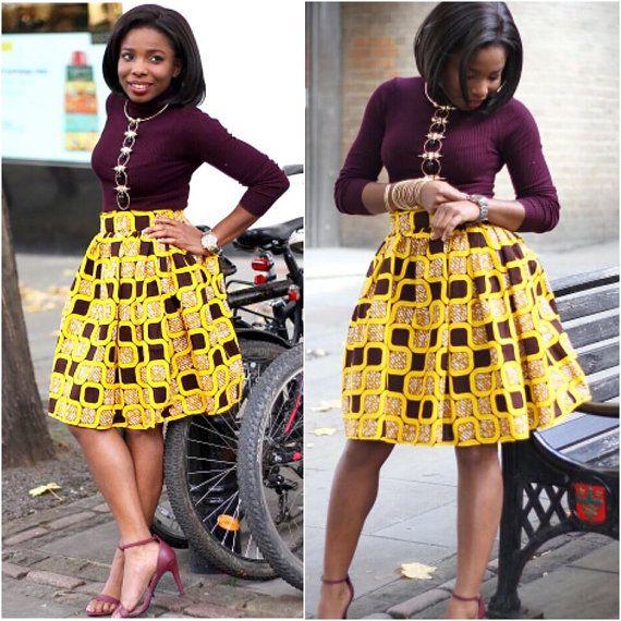 African skirt, african print skirt, ankara skirt, african fashion, skirt, summer skirt, high waist skirt, full skirt, yellow & brown skirt