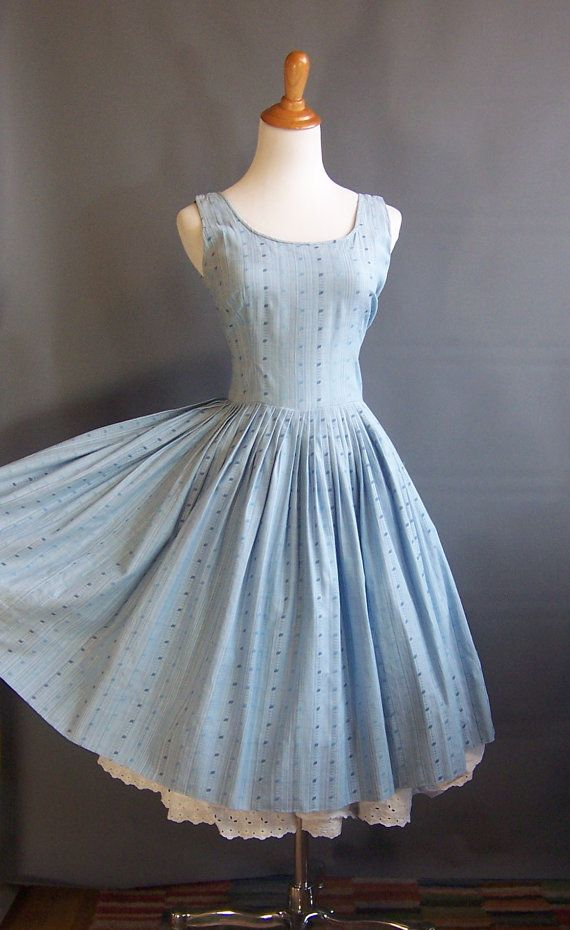 1950s blue sundress stripes 50s sundress striped by edgertor