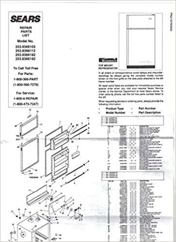 Sears Kenmore Refrigerator-Owners Manual Instruction Guide