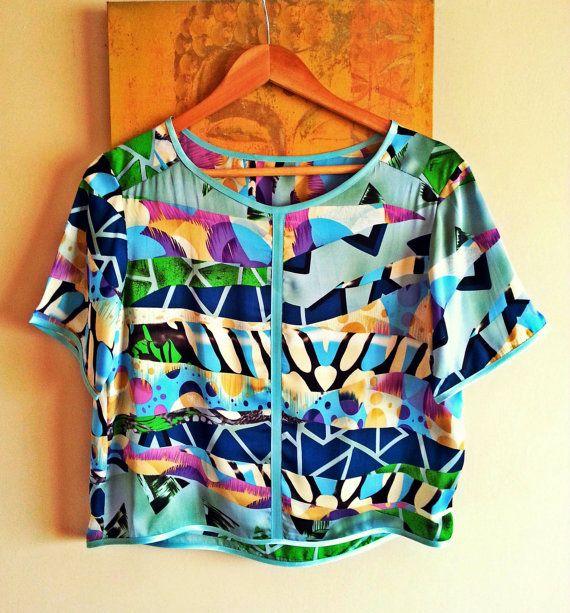 Short Sleeve Women Top Colored Silk Summer Top by PrincipessaLabel, $45.00