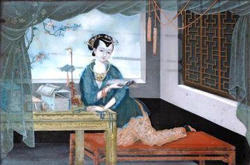 Moça lendo, 1815 Dinastia Qing, Jiaqing, Cantão, China Pintura em vidro, no reverso, 29 x 44 cm Museu de Liverpool, Inglaterra.