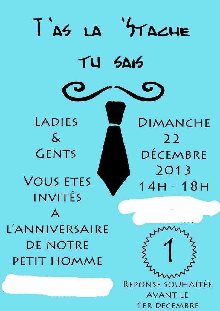 Carton Invitation Anniversaire Th Me Moustache Accompagn De Moustache Sur Pic Moustache