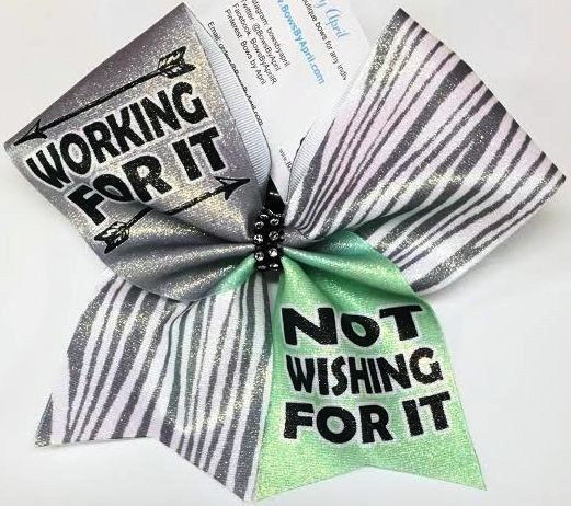 Bows by April - Working For It Not Wishing For It Cheer Bow, $15.00 (http://www.bowsbyapril.com/working-for-it-not-wishing-for-it-cheer-bow/)