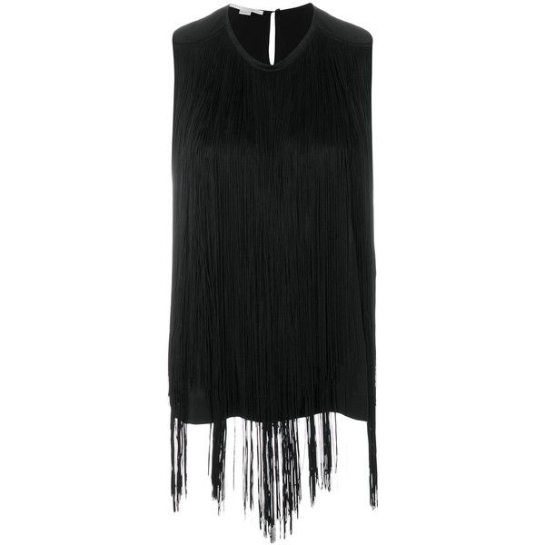 Stella McCartney fringed tank top (20500 TWD) ❤ liked on Polyvore featuring black, no sleeve tops, fringe tops, stella mccartney, sleeveless tops and fringe tank top