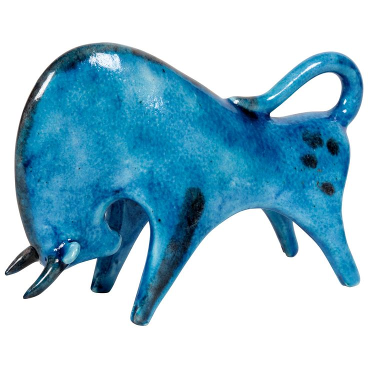 """Guido Gambone/Italian Blue Glazed Pottery """"Bull"""" Sculpture circa 1950 