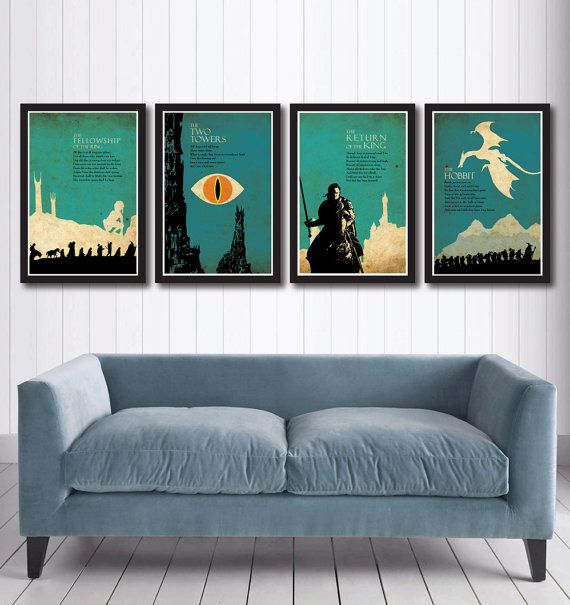 The lord of the rings trilogy poster set and the hobbit for Hobbit themed bedroom