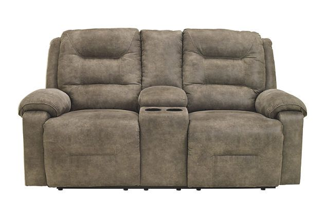Rotation Power Reclining Loveseat with Console by Ashley HomeStore, Gray, Polyester