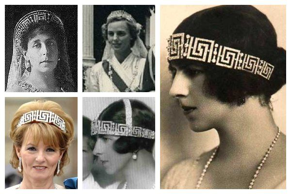 The Romanian Greek Key Tiara.  This diamond meander tiara began as a Russian piece; it was given to Princess Victoria Melita by her second husband, Grand Duke Kyril of Russia.  Victoria was forced to sell her jewelry after the collapse of the Russian empire, and this tiara was purchased by her sister, Queen Marie of Romania.  Marie gave the tiara to her daughter-in-law, Princess Helen, who is the grandmother of the current wearer, Crown Princess Margarita.