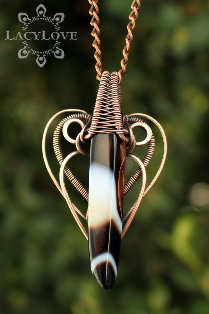 Wire wrapped copper pendant with beautiful agate stone ...S U B S C R I B E... Get latest discounts and news straight to your inbox! - http://lacylove.com.ua/subscribe