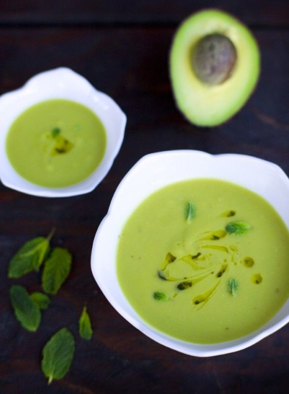 Avocado Soup:    olive oil  1 small onion  2 cloves garlic  1/2 inch fresh ginger, minced  a pinch of dried chili  2 lime, juice  10 mint leaves  3 medium size avocados  1 cup water  salt & pepper