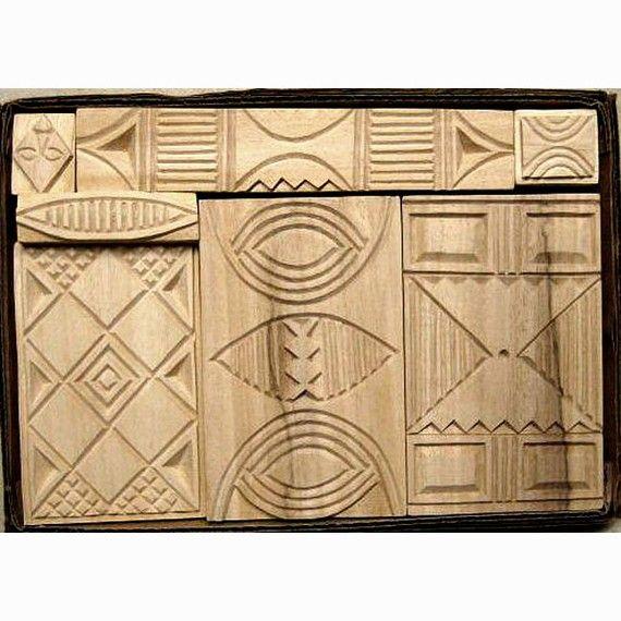 Oshiwa carved wood printing stamp set african designs